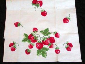Unused Vintage Strawberries Print Kitchen Towel