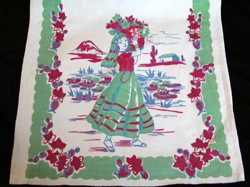 Vintage Hawaiian Island Girl Print Kitchen Towel