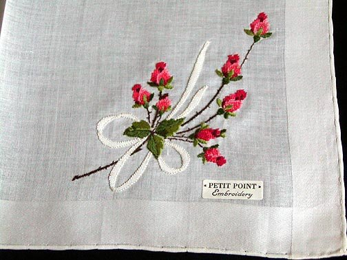 Unused Vintage PETIT POINT Embroidered Red Roses Handkerchief