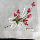 Unused Vintage PETIT POINT Embroidered Red Roses Handkerchief