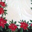 Vintage Vera Poinsettias on Black Border Tablecloth