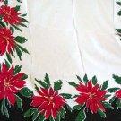 Vintage Vera Poinsettias on Black Border Tablecloth