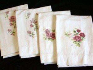 4 Vintage Flour Sack Red Rose Pillowcases
