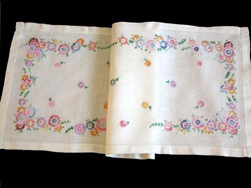 Vintage Hand Embroidered Linen Runner