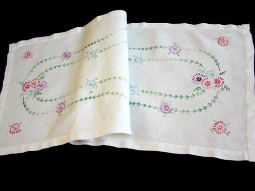 Vintage Hand Embroidered Floral Linen Runner