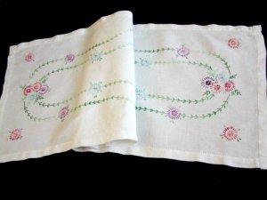 Vintage Hand Embroidered Floral Linen Runner