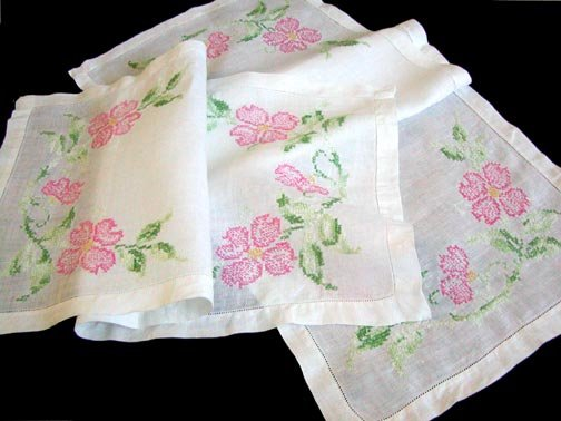 Pair of Hand Embroidered Pink Floral Linen Runners