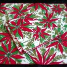 Unused Set of 4 Vintage Poinsettia Print Linen Cotton Napkins