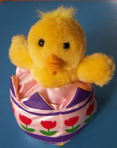 "10"" PLUSH CHICK IN TULIP DECORATED EASTER EGG"