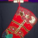 APPLIQUE  BEARS CHRISTMAS STOCKING WITH COORDINATING CERAMIC HOLDER NRFB