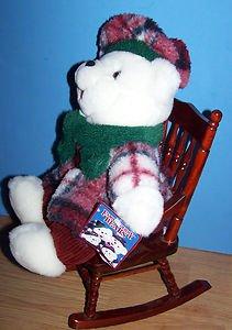 "11"" WHITE FAMILY HOLIDAY BEAR W/PLAID  PLUSH DRESS & HAT CHRISTMAS  TEDDY BEAR"