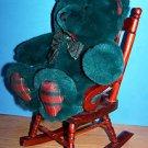 "11"" DARK GREEN PLUSH CHRISTMAS PLAID TEDDY BEAR"
