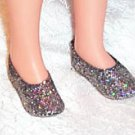 "SPARKLY SILVER SHOES - fit CRISSY, Tiffany Taylor, Toni  & other 16-19"" doll"