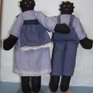 "OOAK 10"" BLACK FOLK ART GOLLIWOG DOLLS AA  LADY & MAN"