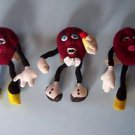 (3) Vintage CALIFORNIA RAISINS PLUSH BENDABLE TOYS 1988 Applause Calrad