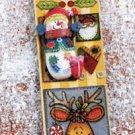 "SOFTY'S  SNOWMAN HOMEMADE BOOKMARK & 2 1/4"" PIN BROOCH GIFT SET"