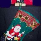 APPLIQUE SANTA CLAUS CHRISTMAS STOCKING WITH COORDINATING CERAMIC HOLDER NRFB