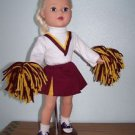 "Burgundy & Gold CHEERLEADER  Outif w/ Pompoms fits AMERICAN GIRL& other 18"" Doll"
