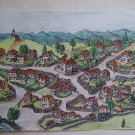 Original drawing  landscape from author, ink and pencil painting signed by the author