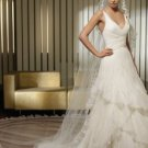 A-Line Chapel Train Satin & Organza V-Neck Wedding Dress