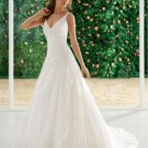 A-Line Chapel Train Taffeta V-Neck Wedding Dress