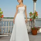 A-Line One Shoulder Sweep Train Satin & Chiffon Wedding Dress