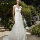 A-Line Queen Anne Chapel Train Satin & Lace Wedding Dress