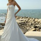 A-Line Strapless Court Train Satin Destination Wedding Dress