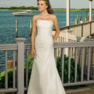 A-Line Strapless Floor Length Taffeta Wedding Dress