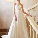 A-Line Sweetheart Chapel Train Satin & Chiffon Wedding Dress