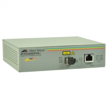 AT Gigabit Ethernet to Fiber Media Converter w/Power over Ethernet AT-PC2002POE