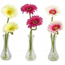 Nearly Natural Gerber Daisy w/Bud Vase (Set of 3) Cream, Pink, Beauty