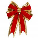 "VICKERMAN 16"" X 19"" Red Structured Bow Gold Trim #L696519"
