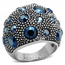 Montana Blue Crystal Stainless Steel Cocktail Ring RI0T-07303