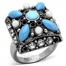 Synthetic Turquoise Stainless Steel Cocktail Ring #RI0T-07302
