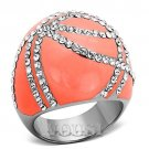 Coral Stainless Steel Cocktail Ring with Clear Crystal Stones RI0T-07300