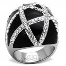 Black Stainless Steel Cocktail ring with clear crystal stones RI0T-07299