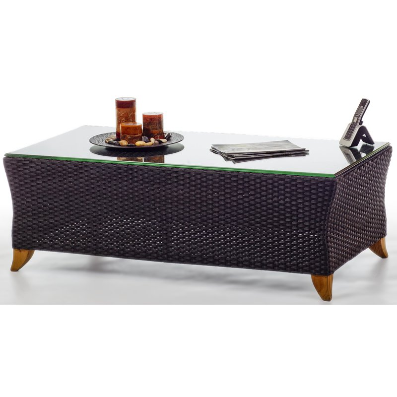 All Things Cedar Rattan Coffee Table PR50 WITH GLASS TOP