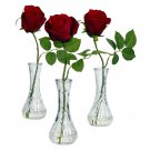 Nearly Natural Rose with Bud Vase (Set of 3) Artificial Flower Arrangement #1269-S3