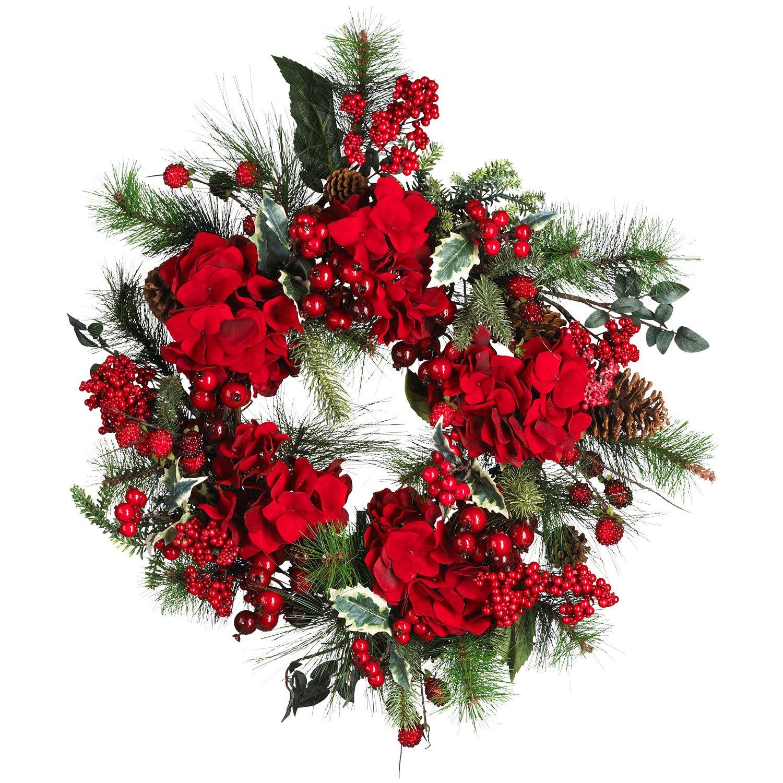 """Nearly Natural 22"""" Holiday Hydrangea Wreath # 4661"""