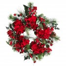 "Nearly Natural 22"" Holiday Hydrangea Wreath # 4661"