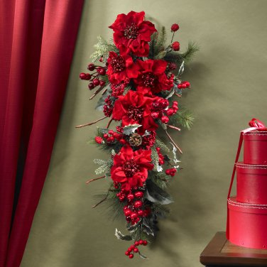 Nearly Natural Poinsettia Teardrop 4656