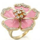 Ladies Brass Gold Plated Pink Flower Crystal Ring RI00-05545