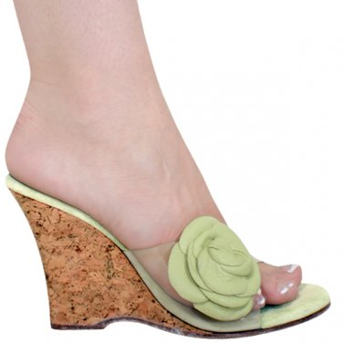 Clear with Green Leather Flowers Sandals, 4� Natural Cork 0884