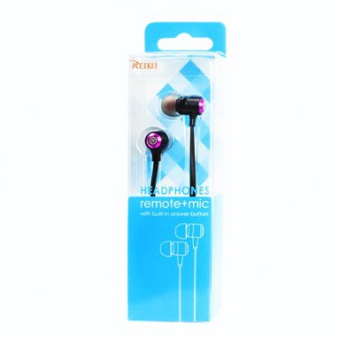 Reiko 3.5MM EARPHONE WITH MIC & DOUBLE COLOR EARBUD TIPS HOT PINK HS1030-35MMMICHPK