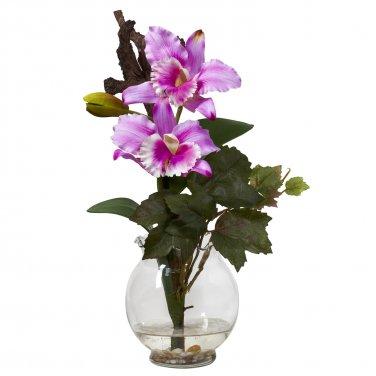 Mini Cattleya w/Fluted Vase Silk Flower Arrangement Lavender 1275