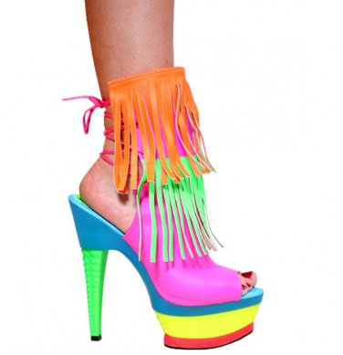 Neon Pink Leather Open Toe, Orange and Neon Green Fringes, 6� Multi Color 3355