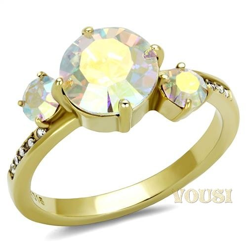 Multi-color Crystal Stainless Steel Gold Ring RI0T-08749