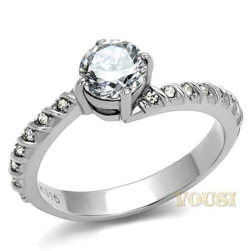 CZ Cubic Zirconia STainless Steel Ring RI0T-08748