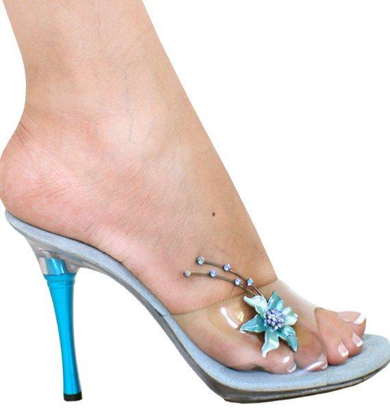 Karo Clear with Flower Rhinestone, 4� Heel Baby Blue 0977 size 6